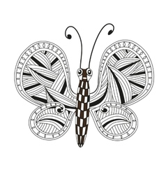 Hand drawn ornamental butterfly with ornaments vector image