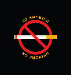 no smoking sign on black background vector image vector image