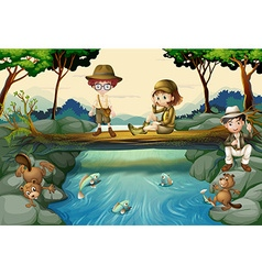 Scene with children at river vector image
