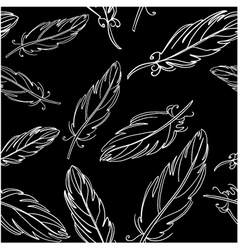 Seamless black pattern with feather vector image vector image