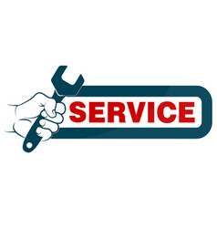 spanner in hand and sign service vector image vector image