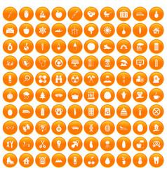 100 child health icons set orange vector