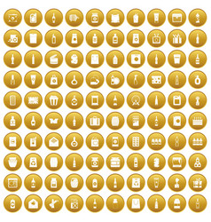 100 packaging icons set gold vector
