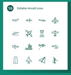 16 aircraft icons vector image