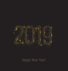 2019 happy new year black text golden glitter vector image