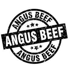 Angus beef round grunge black stamp vector
