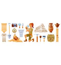 Archaeologist cartoon archeology ancient vector