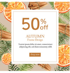 Autumn-themed border frame orange cinnamon text vector