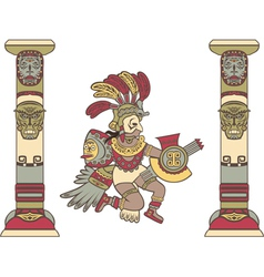Aztec god between columns colored vector image