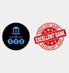 bank hierarchy icon and scratched excellent vector image