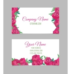 Beautiful floral business cards vector image