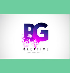 bg b g purple letter logo design with liquid vector image