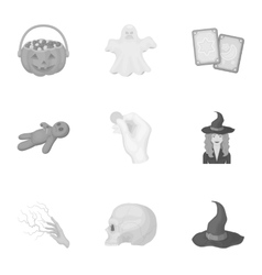 Black and white magic set icons in monochrome vector
