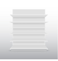 Blank empty showcases display with retail shelves vector