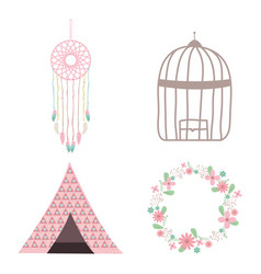 Bohemian and vintage set icons vector