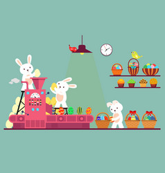 bunny or rabbit packaging easter eggs vector image