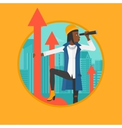 Business woman with spyglass on rising arrow vector