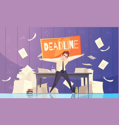 Businessman deadline problems cartoon vector