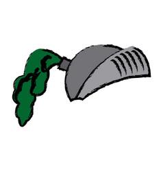 cartoon medieval helmet knight metal vector image