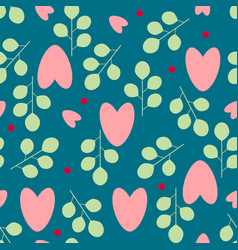 Chaotic seamless pattern hearts and leaves on a vector