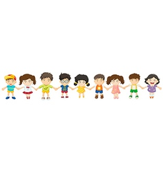 Children in a row vector image