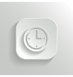Clock icon - white app button vector image