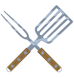 colorful cartoon bbq fork spatula cross vector image