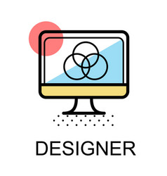 Computer icon for designer on white background vector