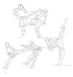 Continuous one line taekwondo fighter set summer vector