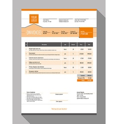 Customizable Invoice Form Template Design Orange vector