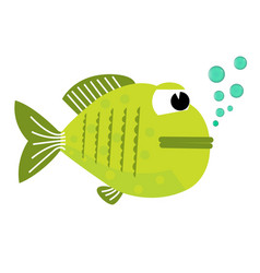 cute fish with bubbles flat vector image