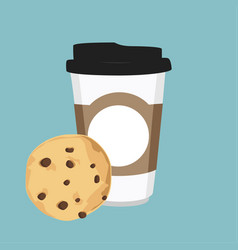 Disposable coffee cup and chocolate chip cookie vector