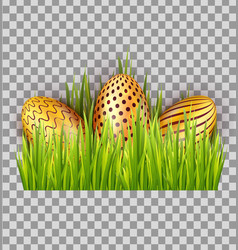 easter decorated golden eggs in green grass vector image