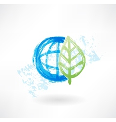 Eco globe grunge icon vector