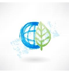 Eco globe grunge icon vector image