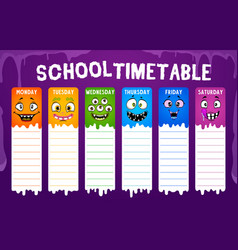 Education school timetable with cute monster faces vector