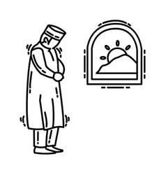 fajr dawn prayer icon doodle hand drawn vector image