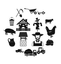 farm black simple icons set vector image