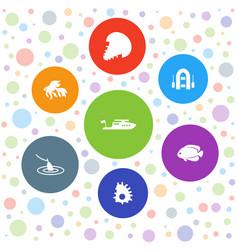 Fishing icons vector