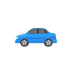 Flat cartoon blue sedan car isolated vector