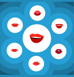 flat icon mouth set of lips lipstick teeth and vector image