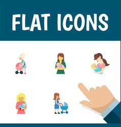 Flat icon parent set of child kid perambulator vector