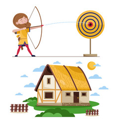 Flat set of medieval archer and house vector
