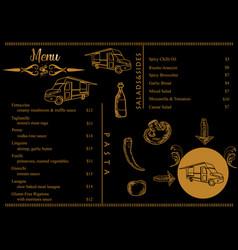 food truck menu on gold color vintage vector image