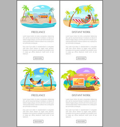 Freelance distant work text vector