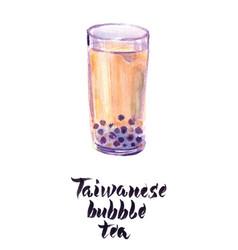 glass taiwanese bubble tea vector image