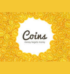 golden coins icons abstract on vector image