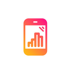 Graph phone icon column chart sign vector
