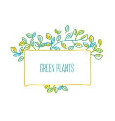 Green leaves design element in hand drawn relaxed vector image