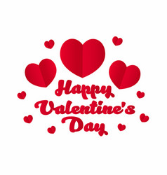 happy valentines day red hearts with lettering on vector image